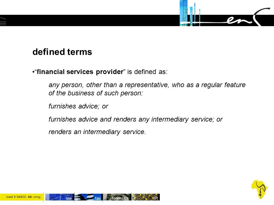 defined terms financial services provider is defined as: