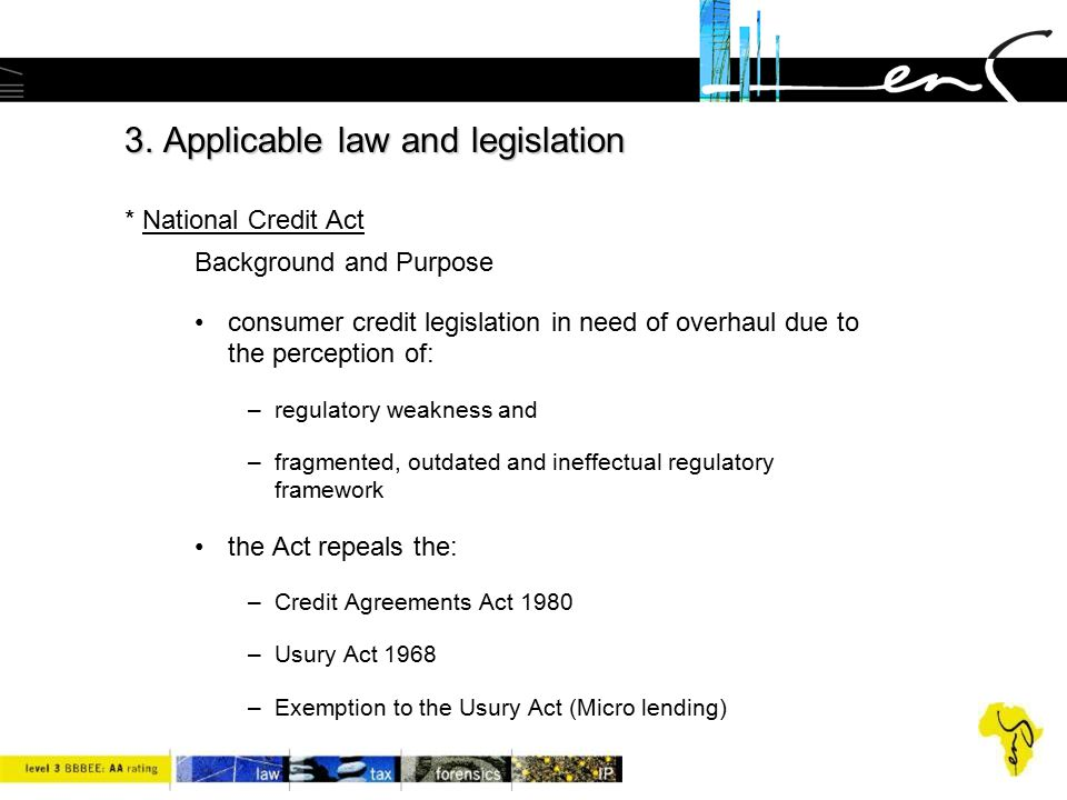 3. Applicable law and legislation * National Credit Act