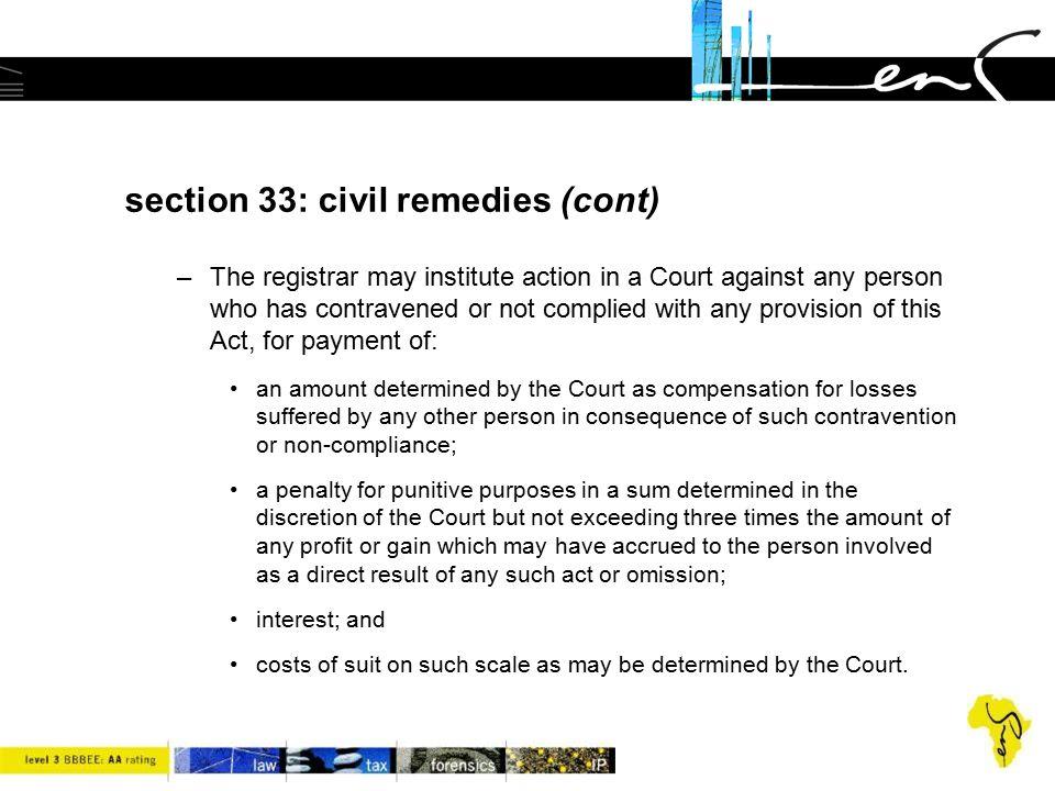 section 33: civil remedies (cont)