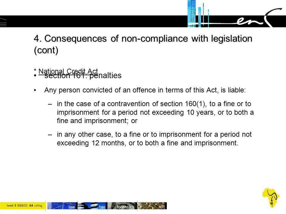 4. Consequences of non-compliance with legislation (cont)