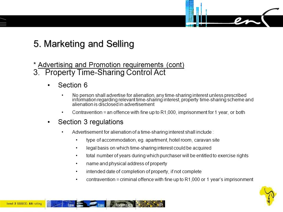 5. Marketing and Selling * Advertising and Promotion requirements (cont)