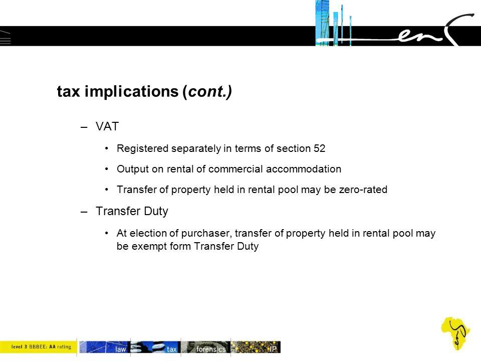 tax implications (cont.)