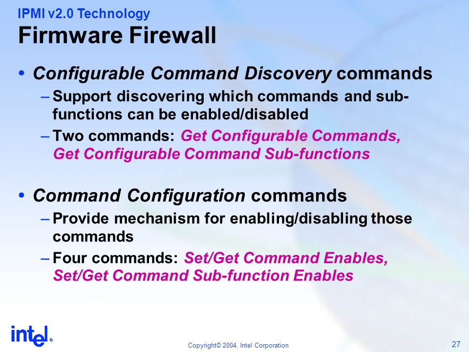Firmware Firewall Configurable Command Discovery commands