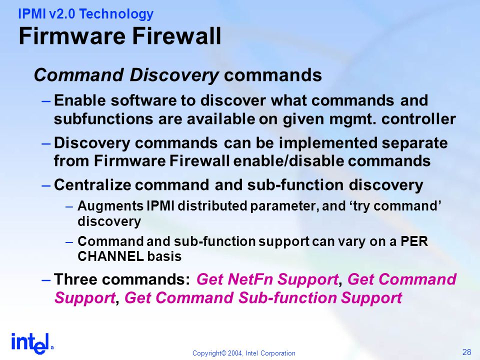 Firmware Firewall Command Discovery commands