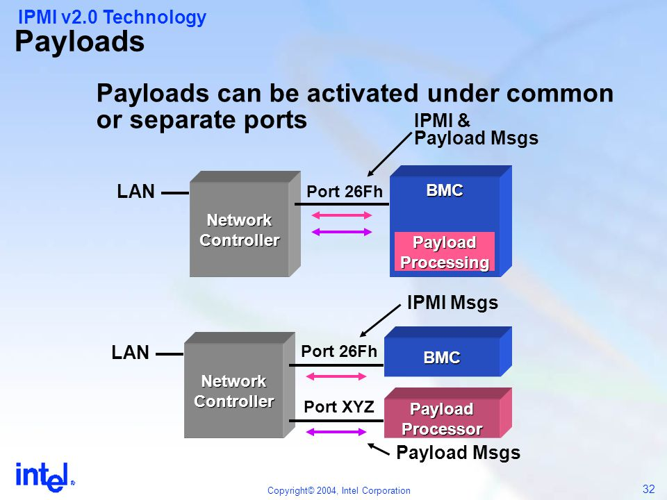 Payloads Payloads can be activated under common or separate ports