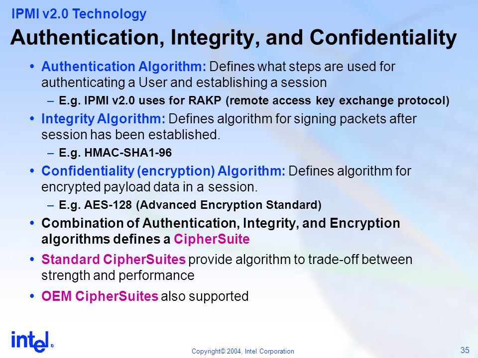Authentication, Integrity, and Confidentiality