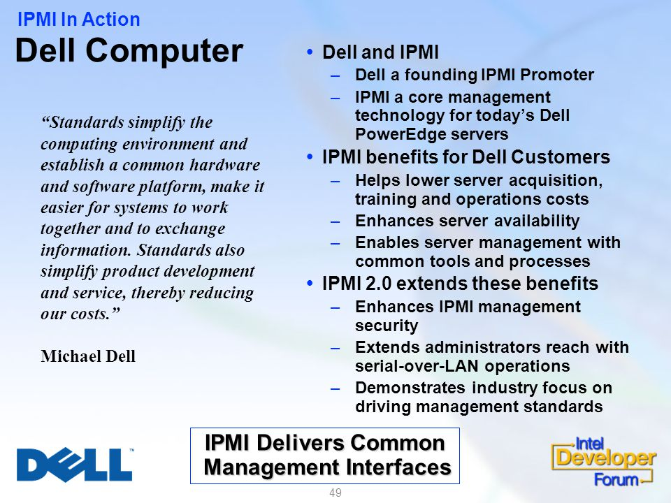 IPMI Delivers Common Management Interfaces