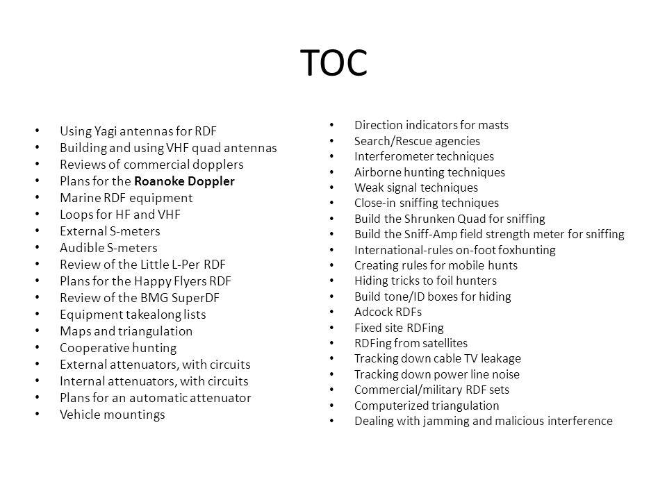TOC Using Yagi antennas for RDF Building and using VHF quad antennas