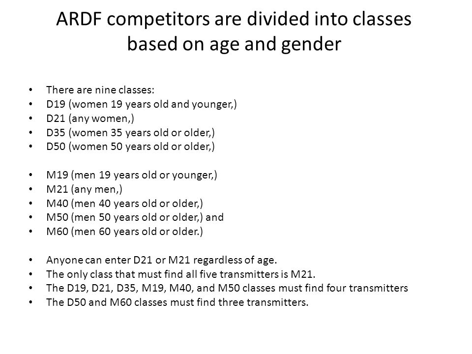 ARDF competitors are divided into classes based on age and gender