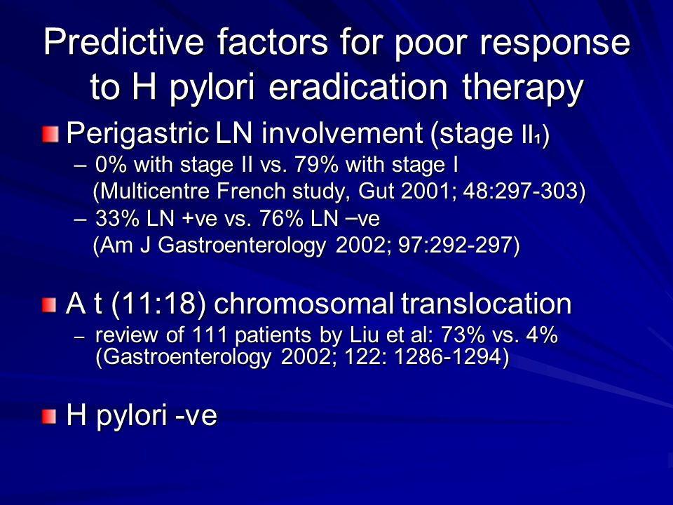 Predictive factors for poor response to H pylori eradication therapy