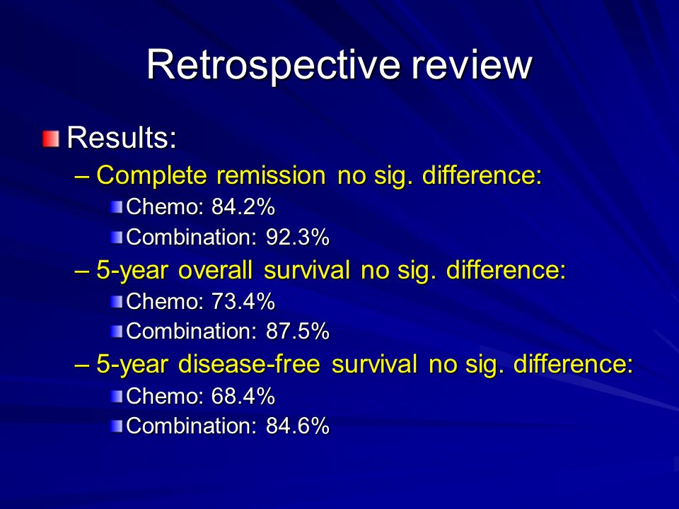 Retrospective review Results: Complete remission no sig. difference: