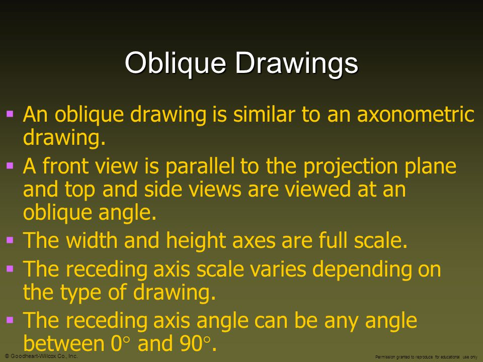 Oblique Drawings An oblique drawing is similar to an axonometric drawing.