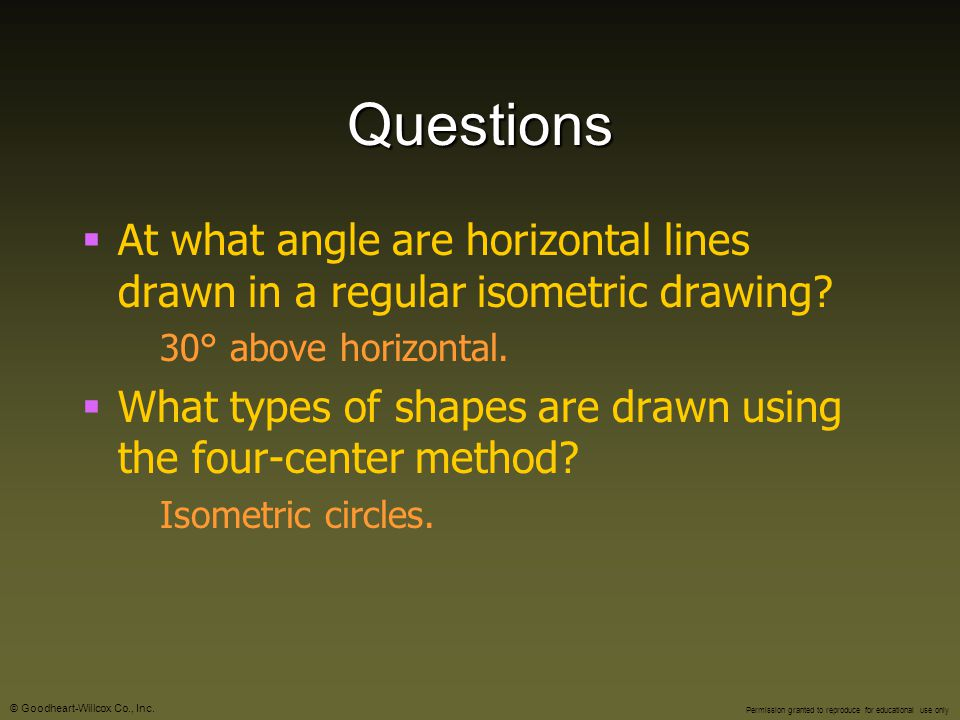 Questions At what angle are horizontal lines drawn in a regular isometric drawing 30° above horizontal.