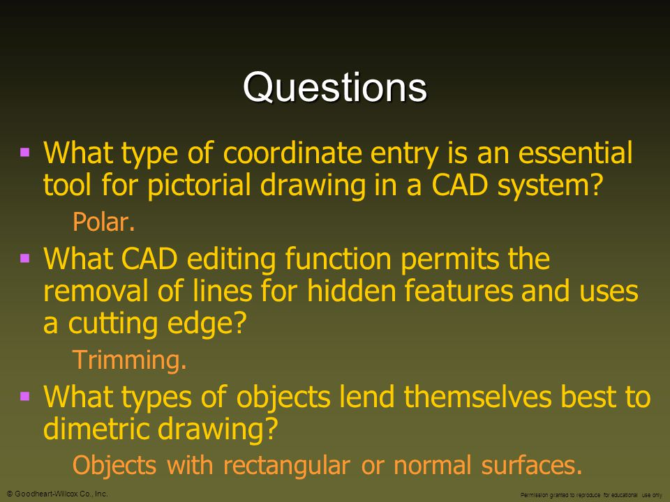 Questions What type of coordinate entry is an essential tool for pictorial drawing in a CAD system