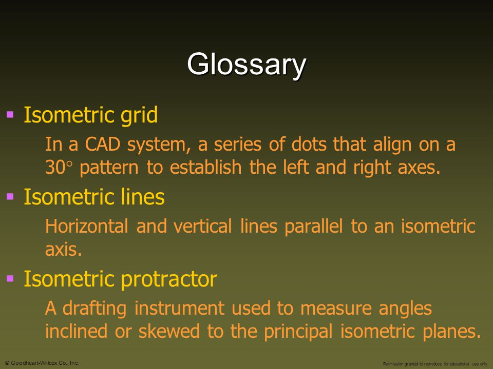 Glossary Isometric grid Isometric lines Isometric protractor