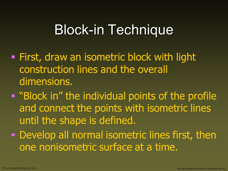 Block-in Technique First, draw an isometric block with light construction lines and the overall dimensions.