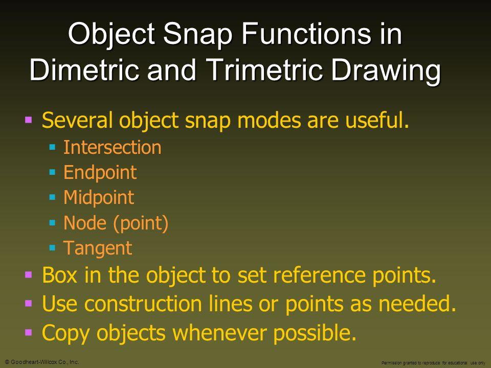 Object Snap Functions in Dimetric and Trimetric Drawing