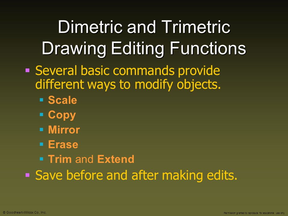 Dimetric and Trimetric Drawing Editing Functions