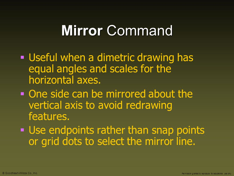 Mirror Command Useful when a dimetric drawing has equal angles and scales for the horizontal axes.