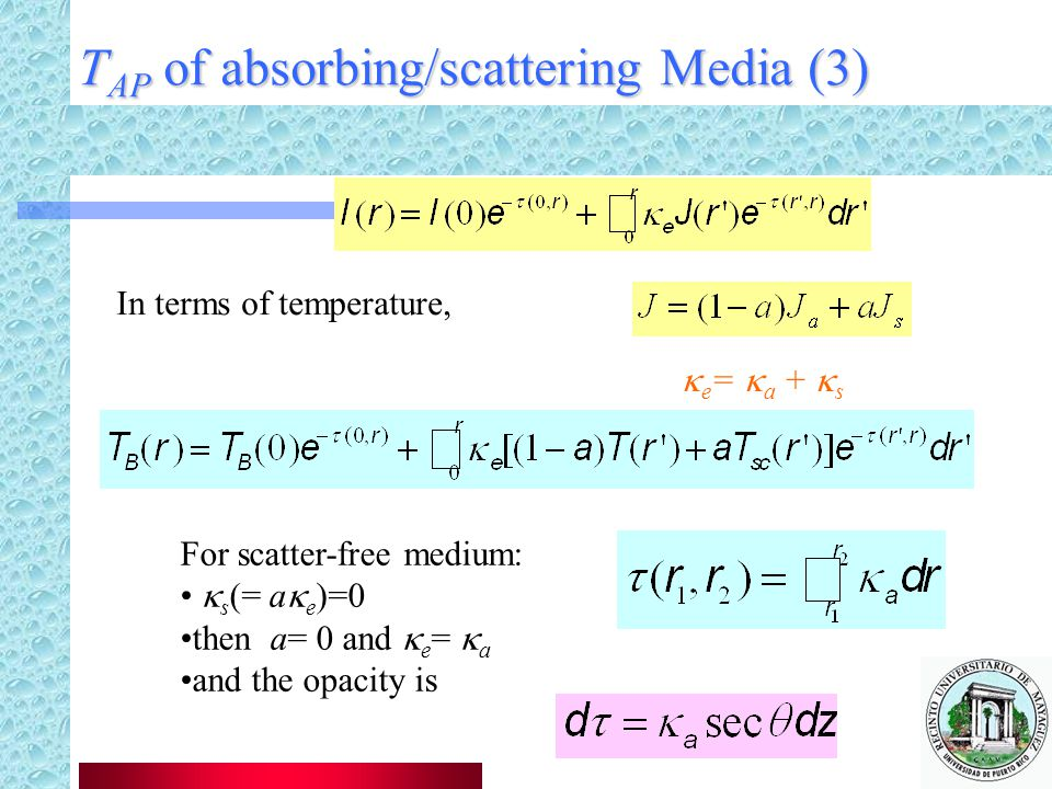 TAP of absorbing/scattering Media (3)