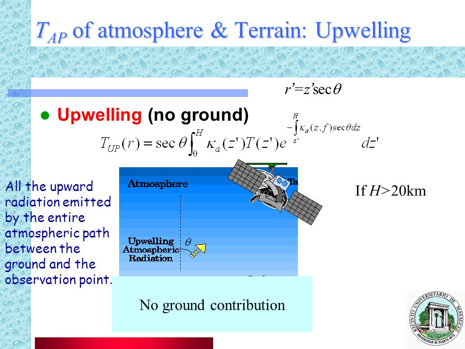 TAP of atmosphere & Terrain: Upwelling