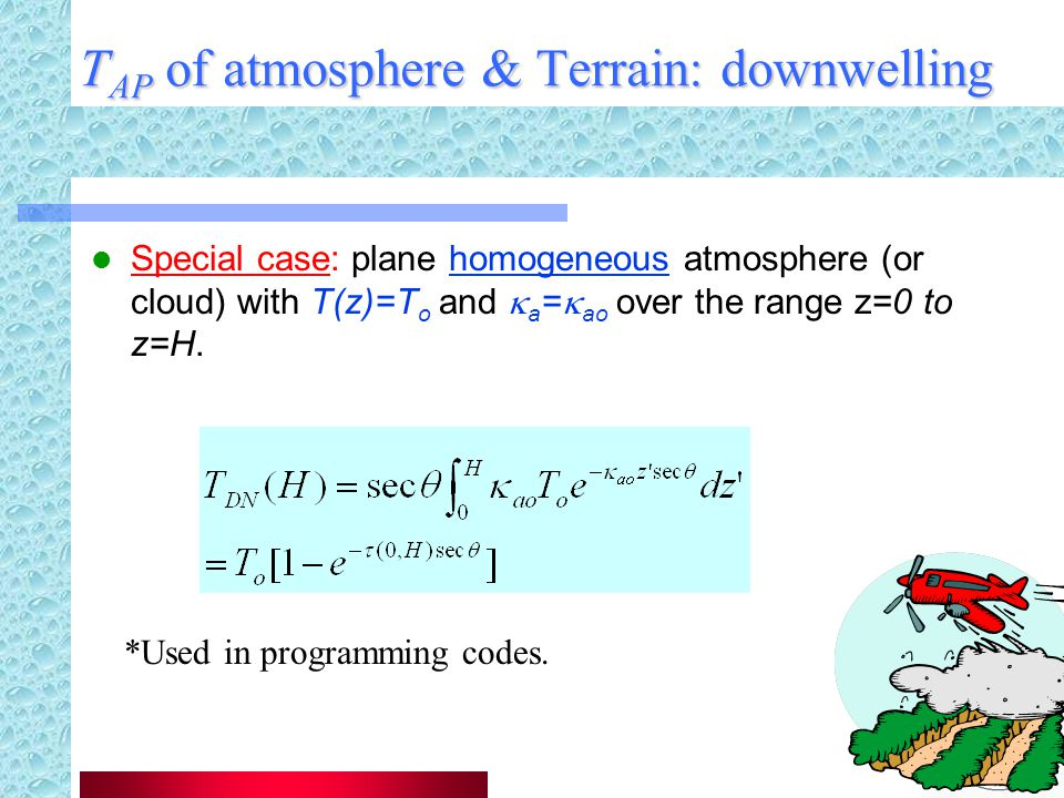 TAP of atmosphere & Terrain: downwelling