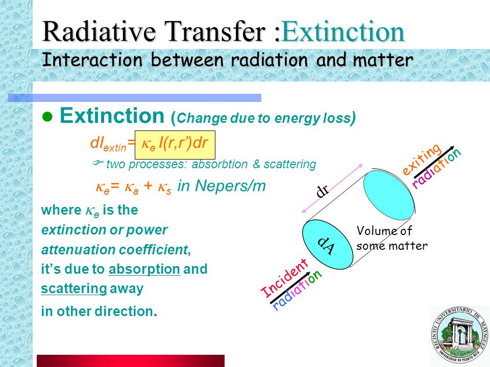 Radiative Transfer, Radiative Transfer :Extinction Interaction between radiation and matter. Extinction (Change due to energy loss)