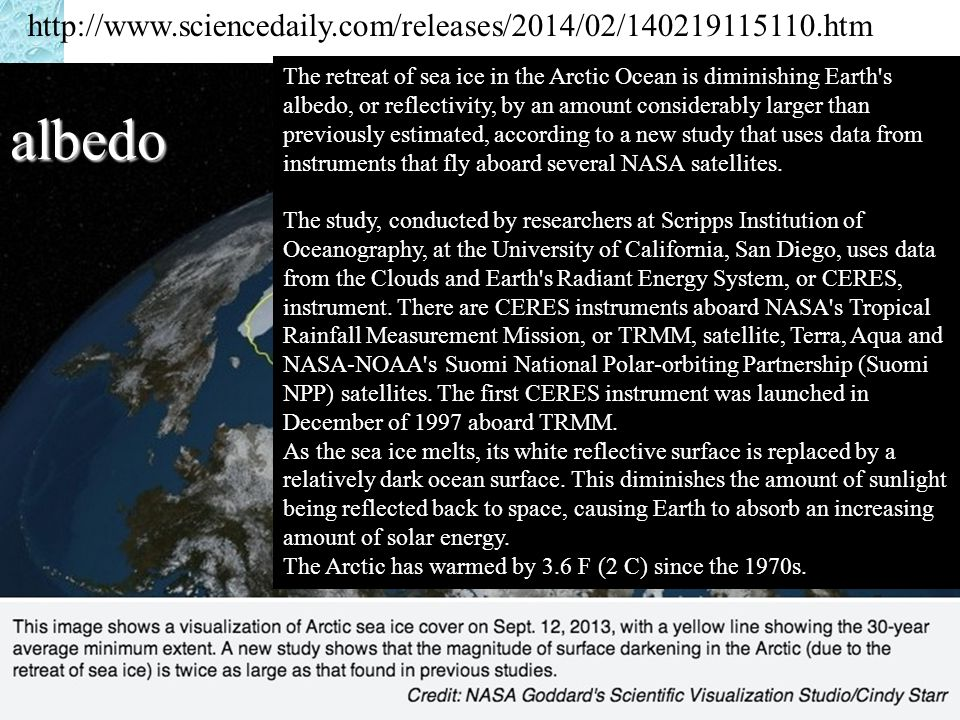 albedo http://www.sciencedaily.com/releases/2014/02/140219115110.htm