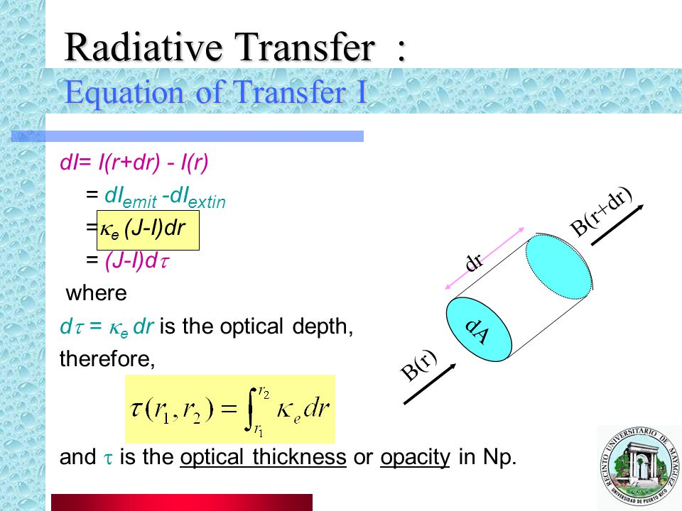 Radiative Transfer : Equation of Transfer I