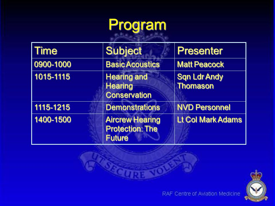Program Presenter Subject Time Lt Col Mark Adams