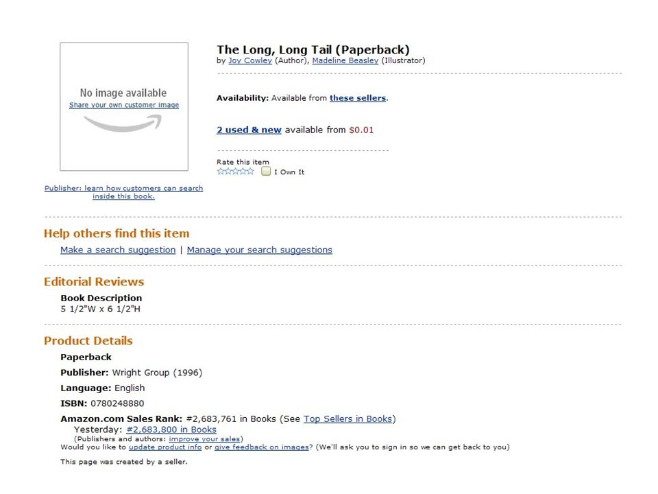 As it happens, there's another book called The Long, Long Tail , which came out in 1996. By comparison, its listing is sadly bare. There's no cover, no review, no blurb, and it's missing several metadata fields. No wonder its sales rank is 2,63,800. Of course it had a cover when it was published, and presumably it was reviewed somewhere and had a page count. But all that information is now lost. Research suggests that shoppers are far more likely to buy if they can see a cover and read a bit about the book, and are even more inclined to to purchase if they can see a few sample pages.