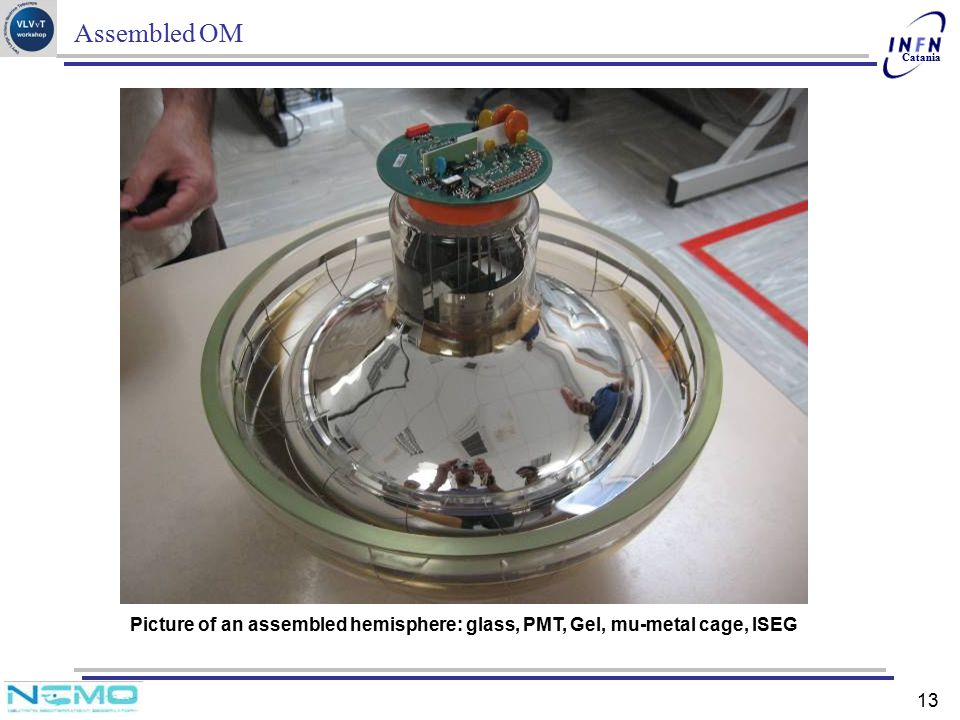 Assembled OM Picture of an assembled hemisphere: glass, PMT, Gel, mu-metal cage, ISEG