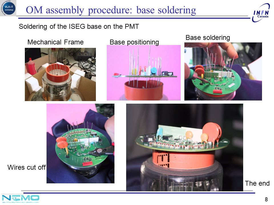 OM assembly procedure: base soldering