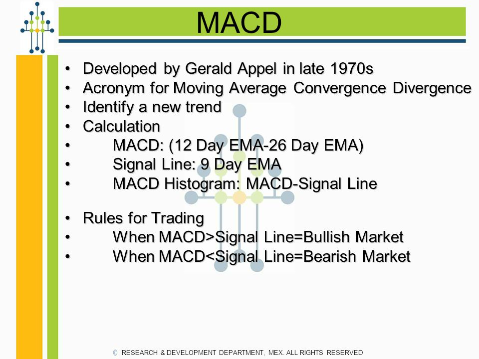 MACD Developed by Gerald Appel in late 1970s