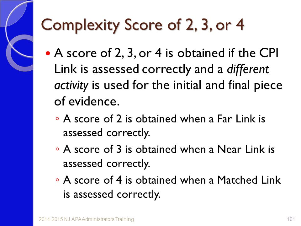 Complexity Score of 2, 3, or 4