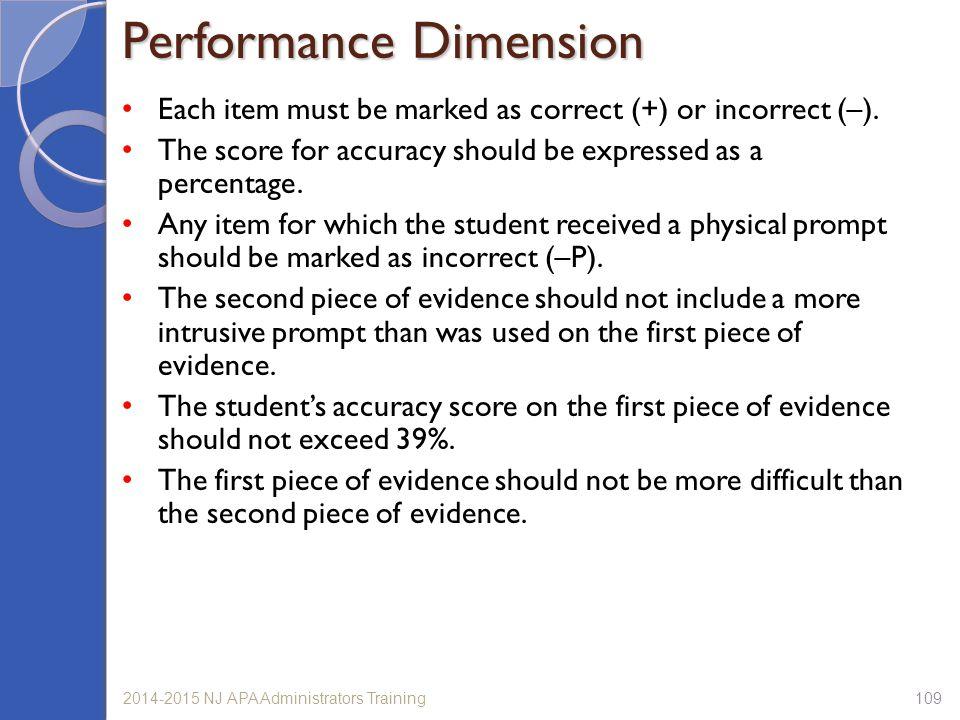Performance Dimension