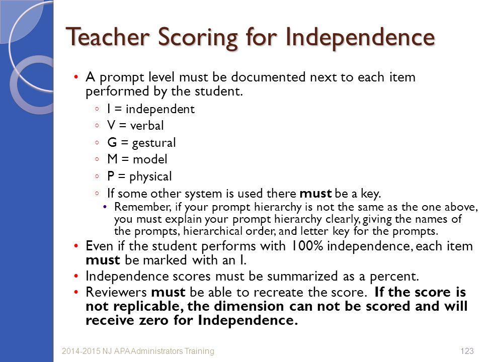 Teacher Scoring for Independence