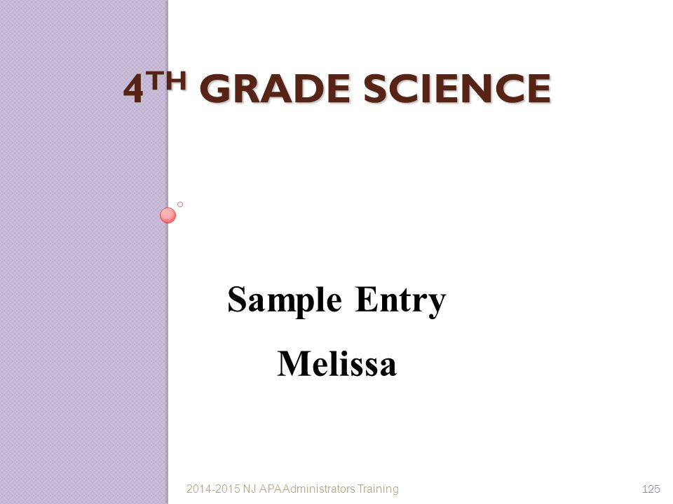 4th Grade Science Sample Entry Melissa