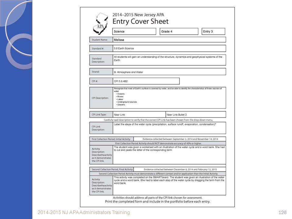 Notice that this Entry Cover Sheet indicates that this is Science entry 3. The required standard, strand, and CPI are documented on the Entry Cover Sheet as well as the specific link to be assessed. Take a minute to review the Entry Cover Sheet and verify that all the information is provided.