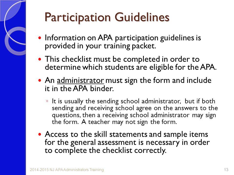 Participation Guidelines