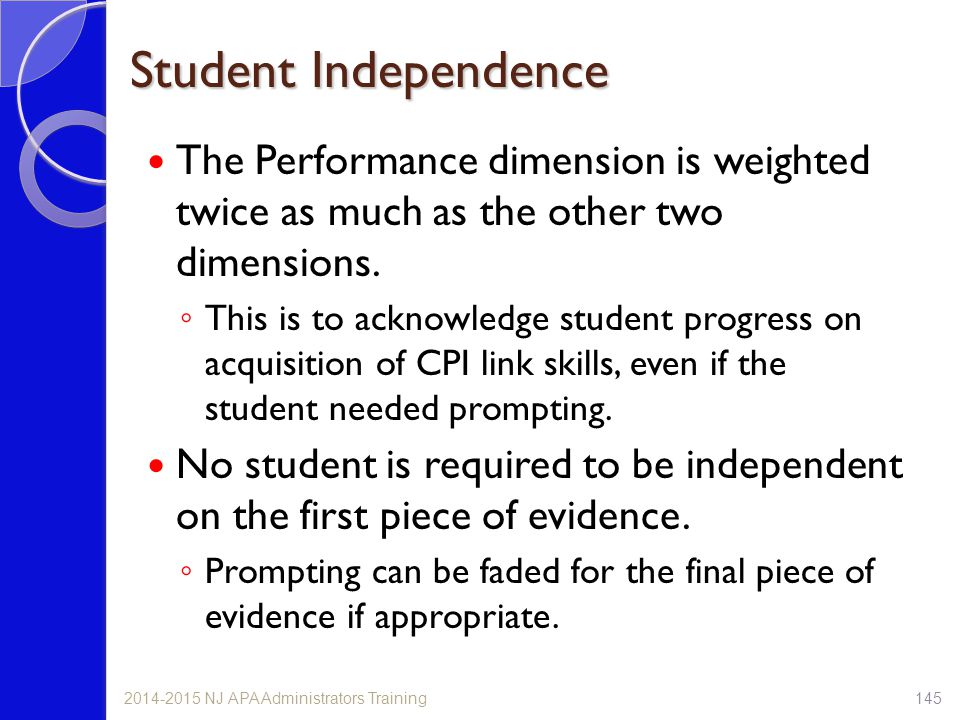 Student Independence The Performance dimension is weighted twice as much as the other two dimensions.
