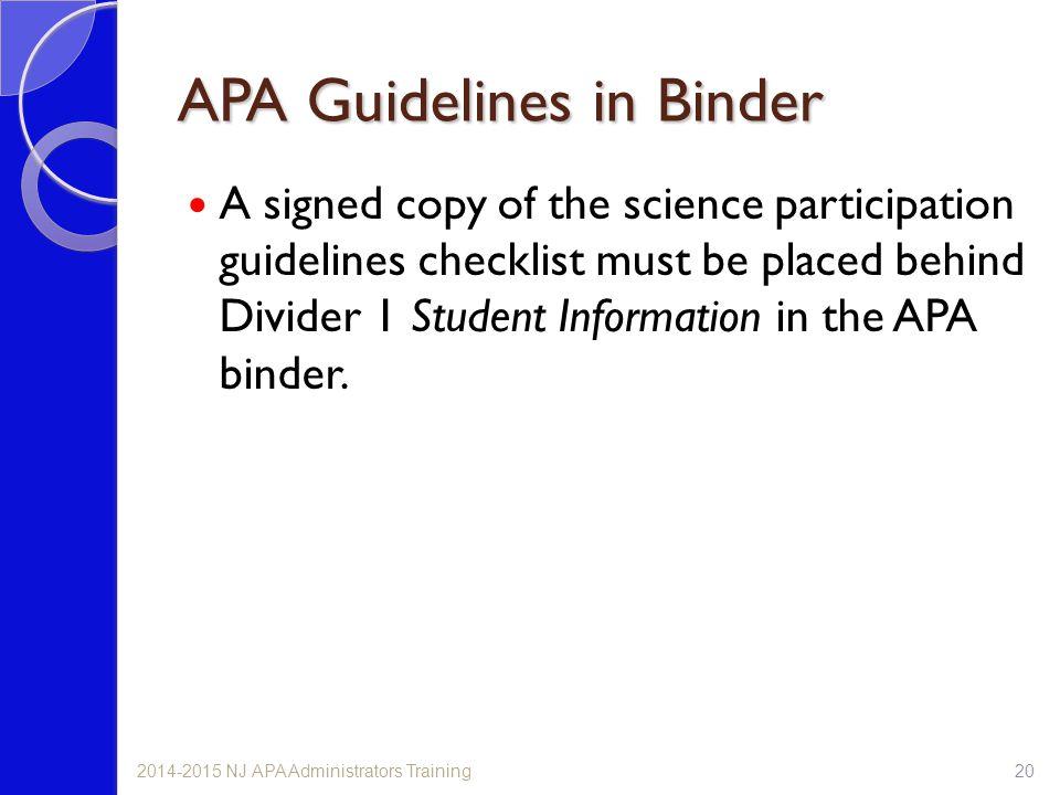 APA Guidelines in Binder
