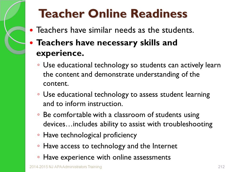 Teacher Online Readiness