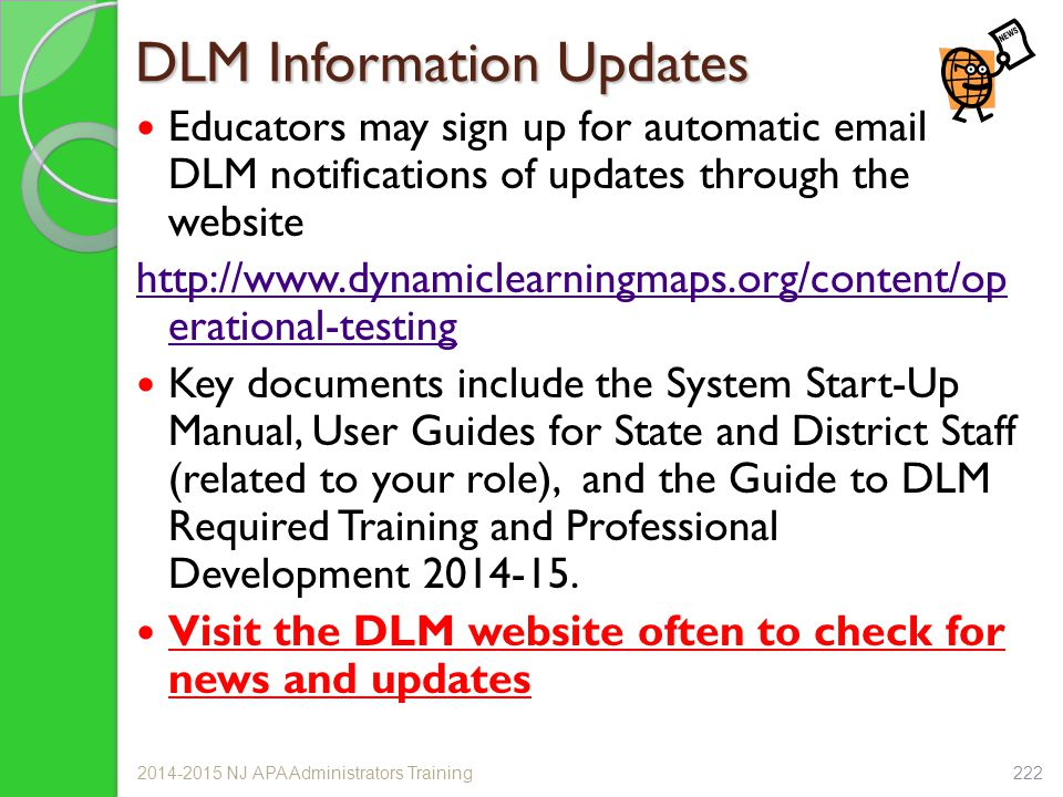 DLM Information Updates