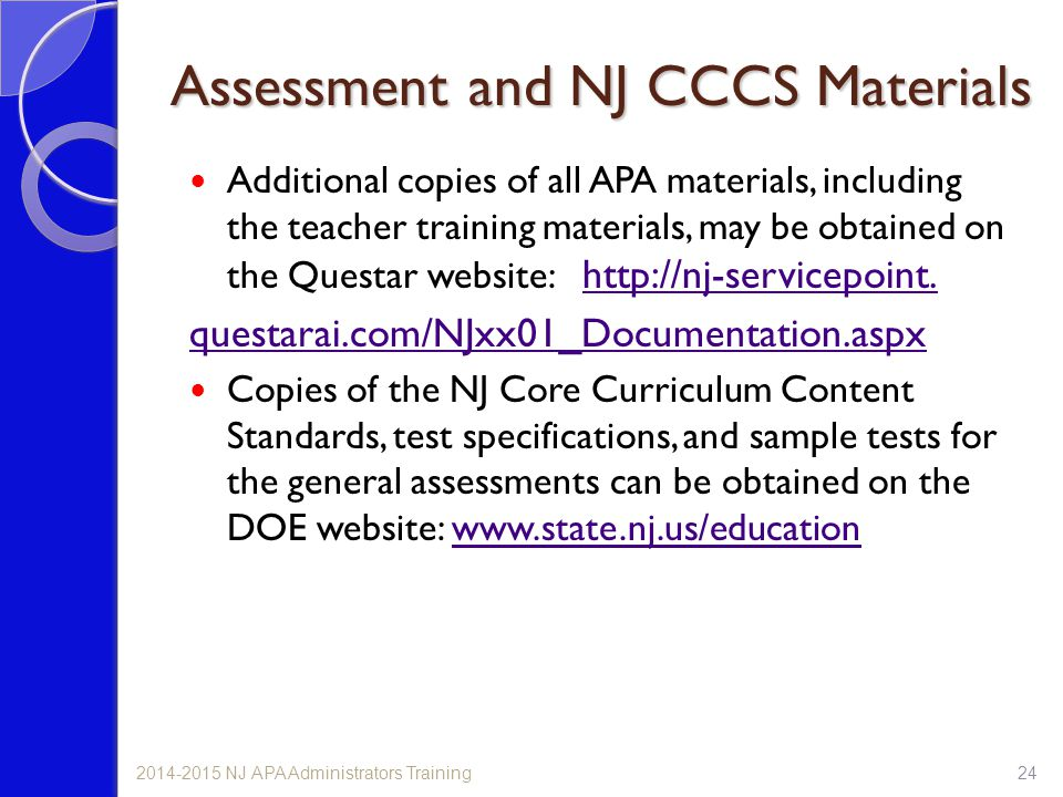 Assessment and NJ CCCS Materials