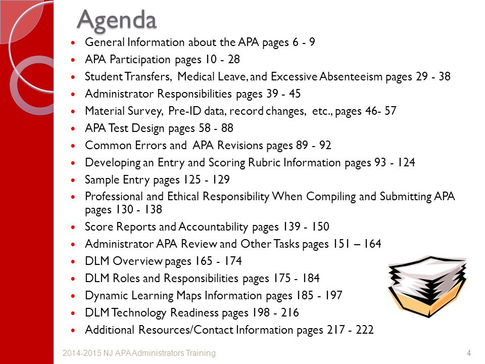 Agenda General Information about the APA pages 6 - 9
