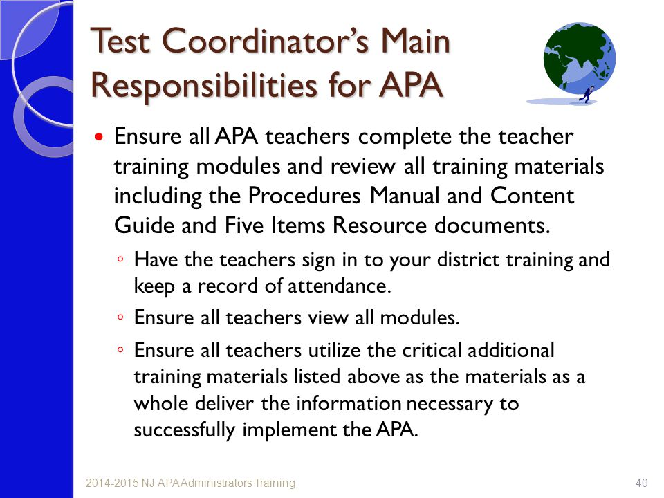 Test Coordinator's Main Responsibilities for APA
