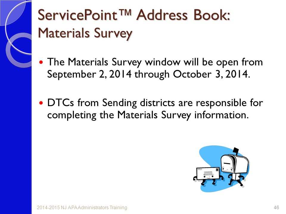 ServicePoint™ Address Book: Materials Survey