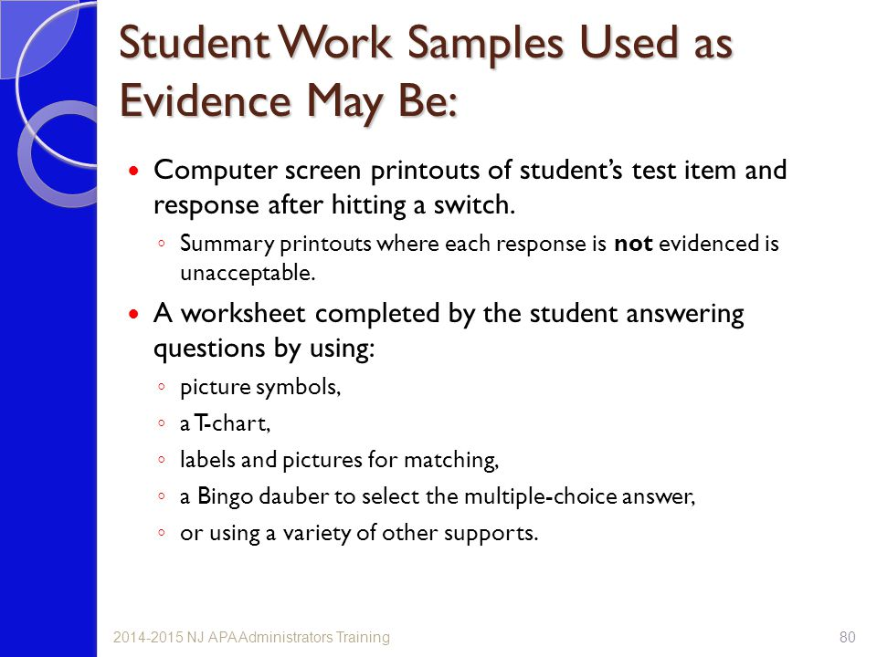 Student Work Samples Used as Evidence May Be: