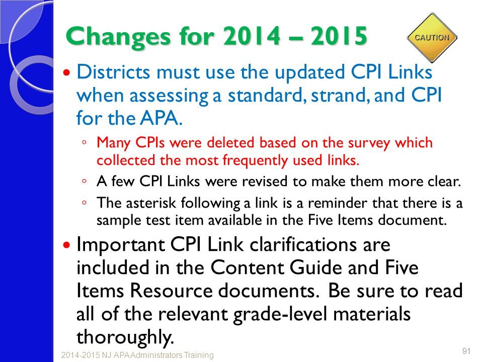 Changes for 2014 – 2015 Districts must use the updated CPI Links when assessing a standard, strand, and CPI for the APA.